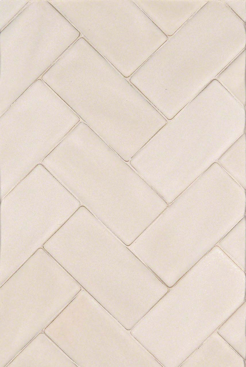 Antique White Handcrafted Herringbone Backsplash Design