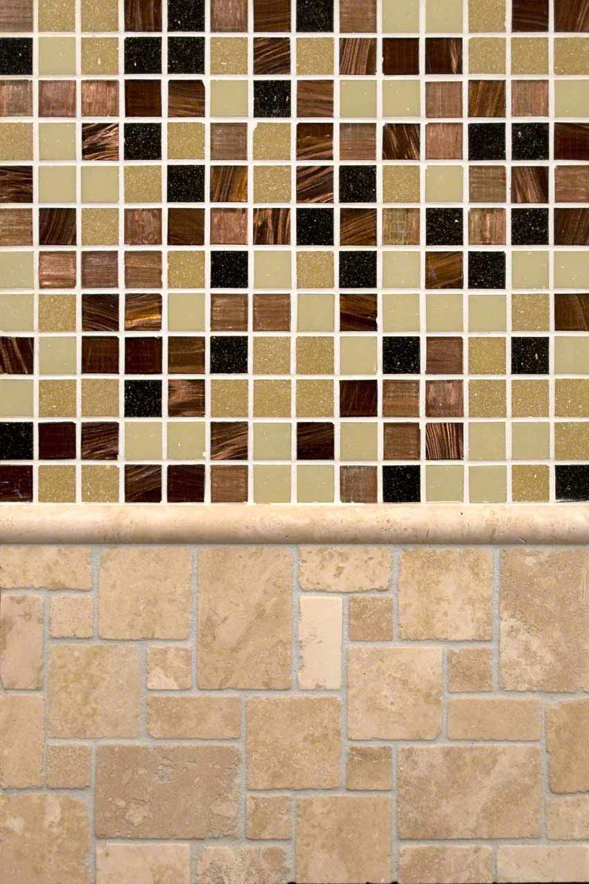 Ivory Travertine and Desert Sunset Glass Medley
