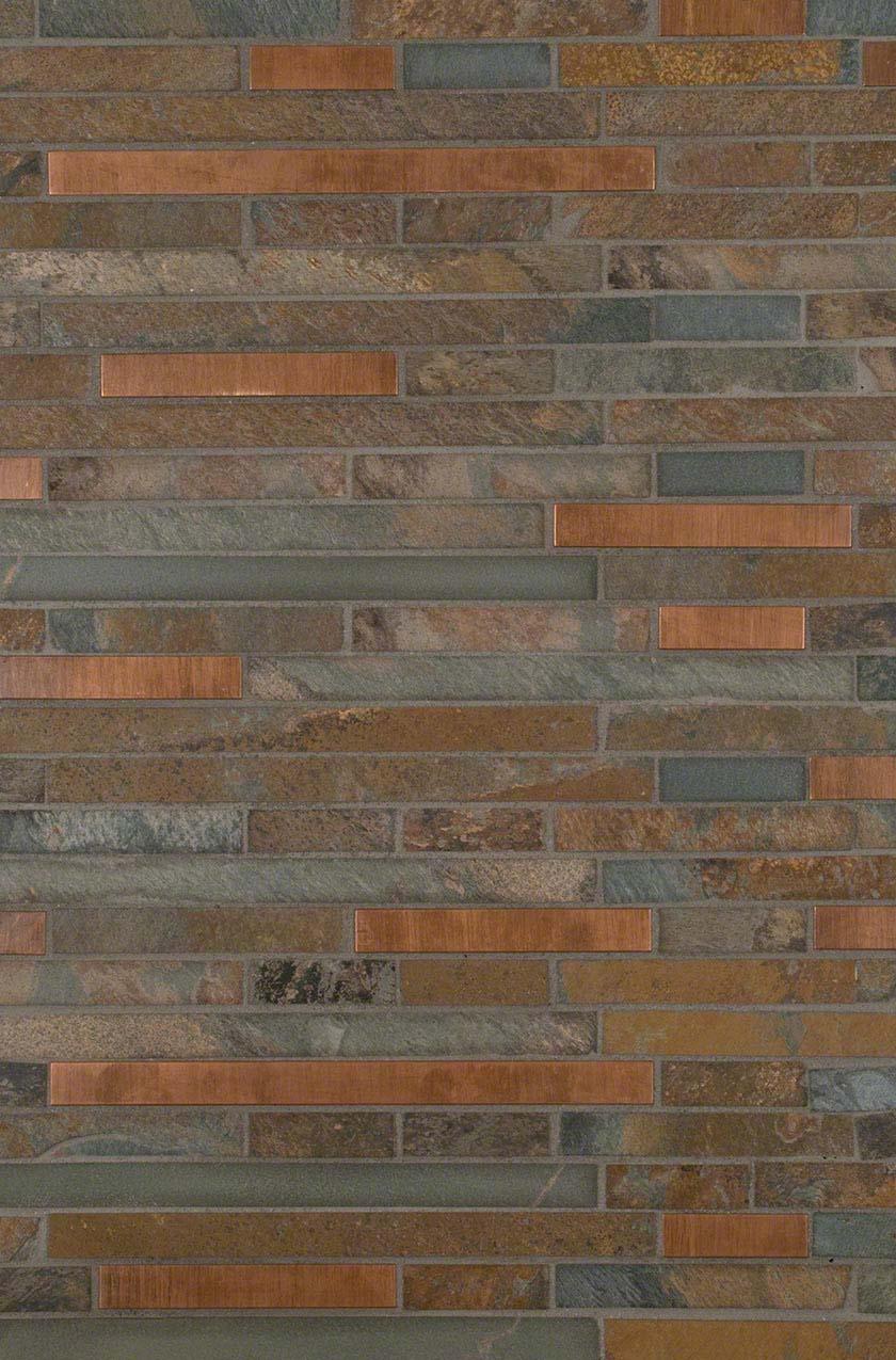 Rustic Creek Stone and Metal Backsplash Design
