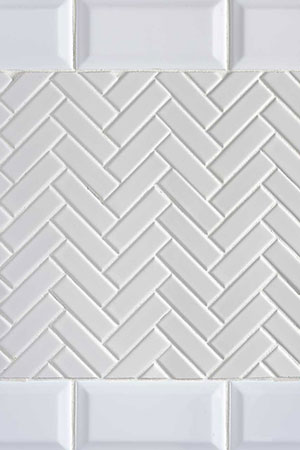 Domino White Herringbone & Bevel Glossy
