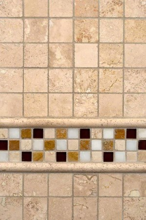 Ivory Travertine, Glass, and Stone Combo