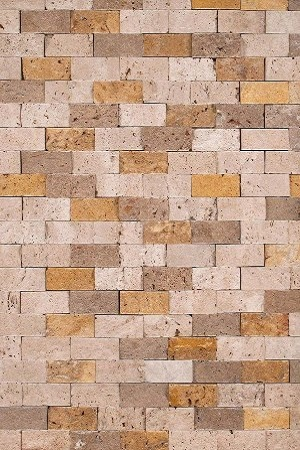 Mixed Split-Face Travertine Backsplash Design