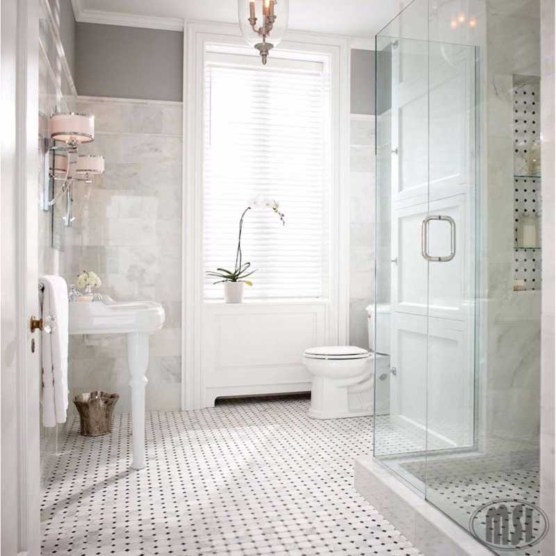 White Marble Bathroom Tile: 7 Inspired Designs In Classic Black And White Porcelain Tile
