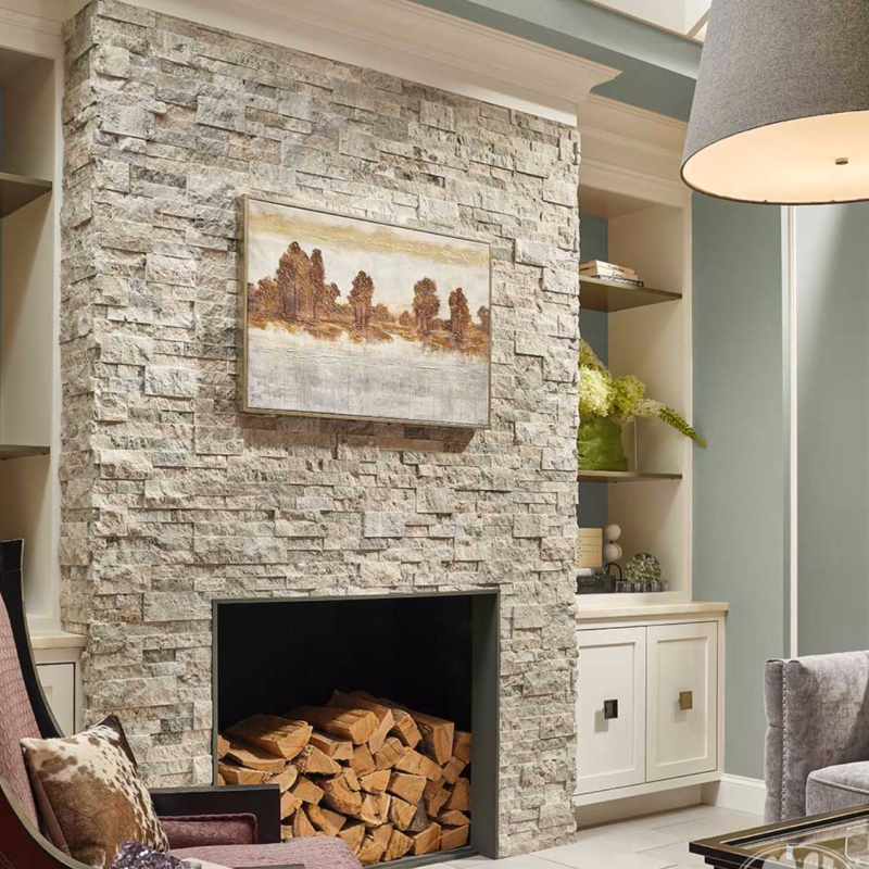 Travertine Stone Fireplace Designs : Natural stacked stone panels check out these inspired