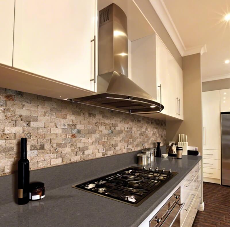 Black and gray quartz countertops in bright perky kitchen for 2 inch quartz countertop