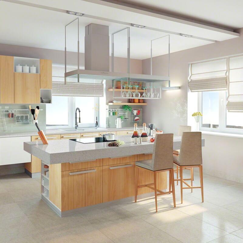 Black And Gray Quartz Countertops In Bright, Perky Kitchen