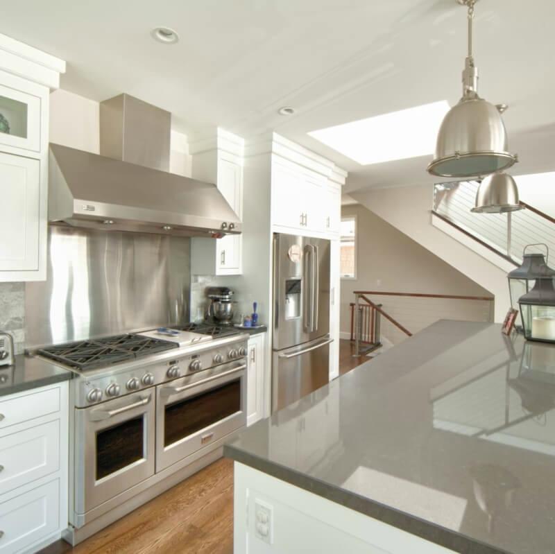 Black And Gray Quartz Countertops In Bright Perky Kitchen