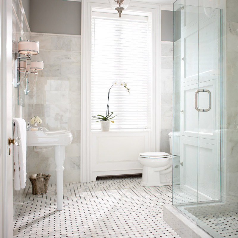 Bright bathroom with subway tile