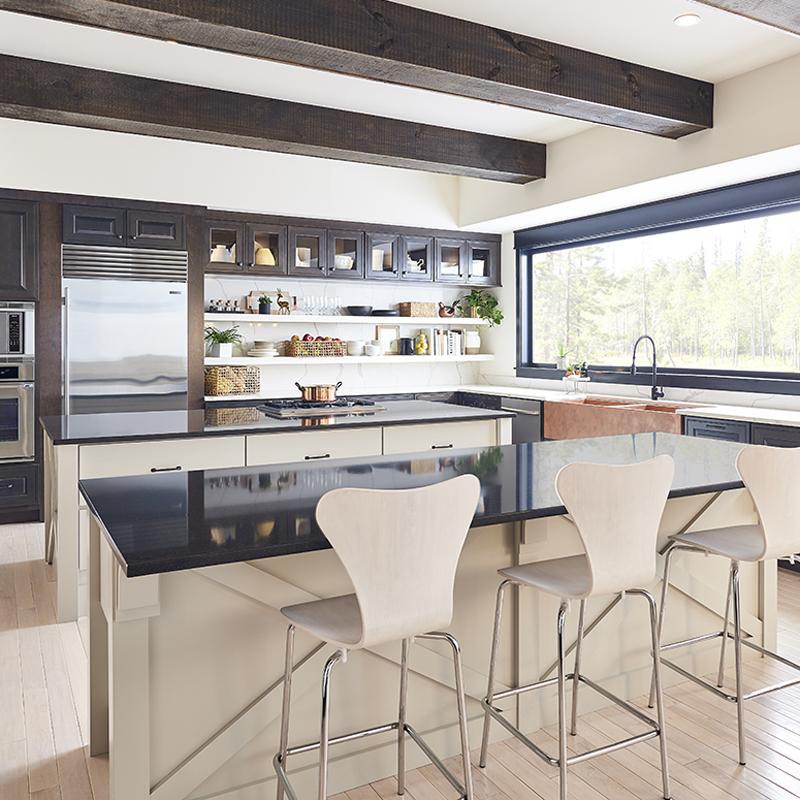Retro kitchen with black quartz countertops
