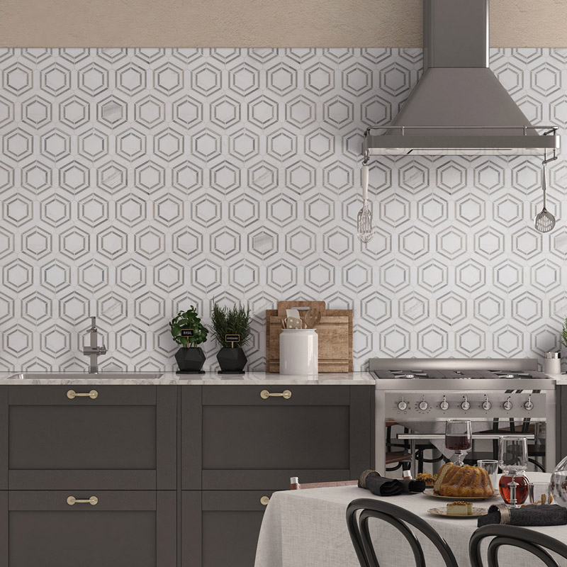 geometric backsplash tile on kitchen wall