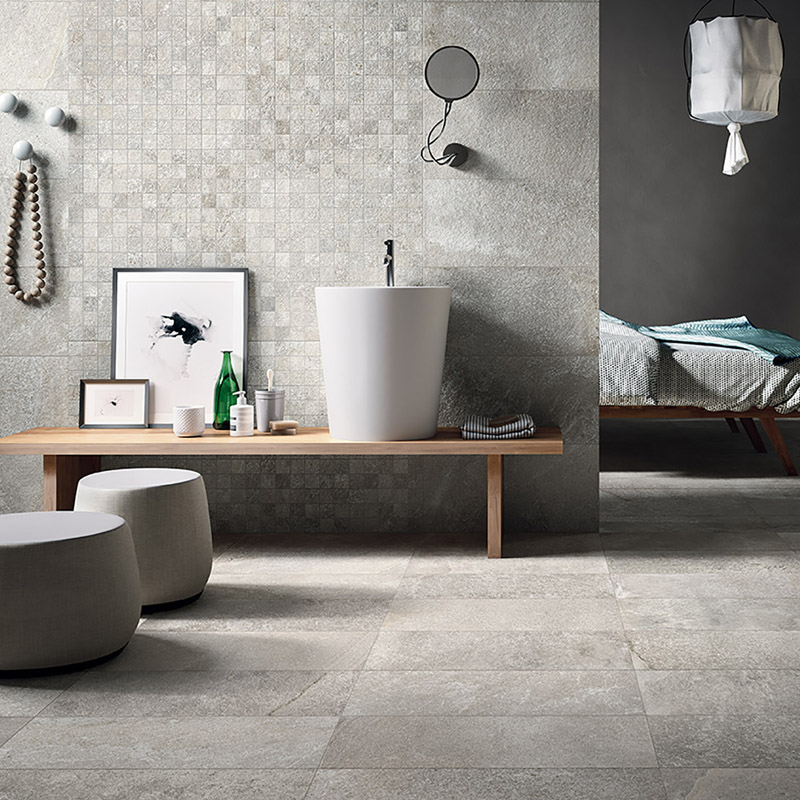 Urban loft with gray porcelain textures