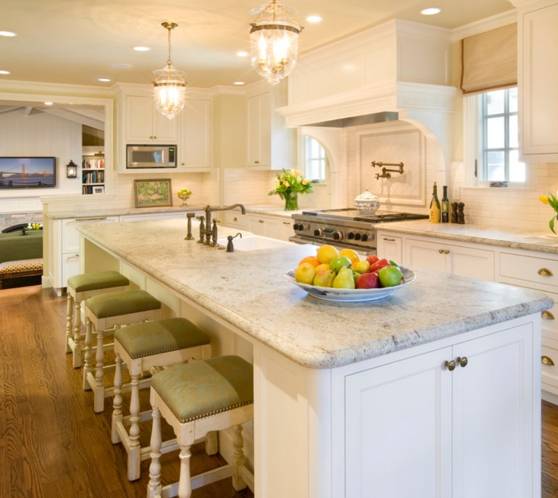 honed white granite in white kitchen