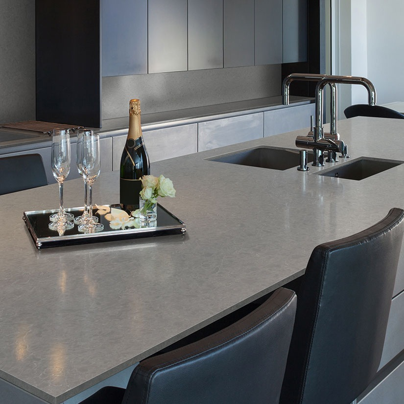 concrete look elegant gray quartz countertop