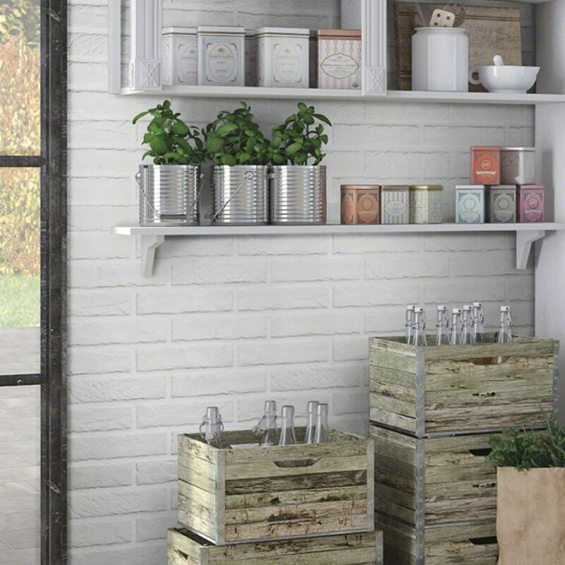 rustic kitchen wall withe brick tile
