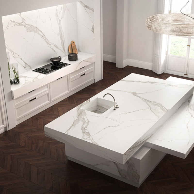 beautiful calacatta marble look bathroom