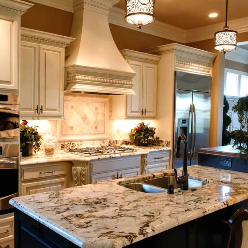 Unique granite countertop in traditional kitchen