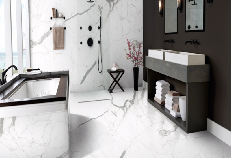 porcelain slab in bathroom