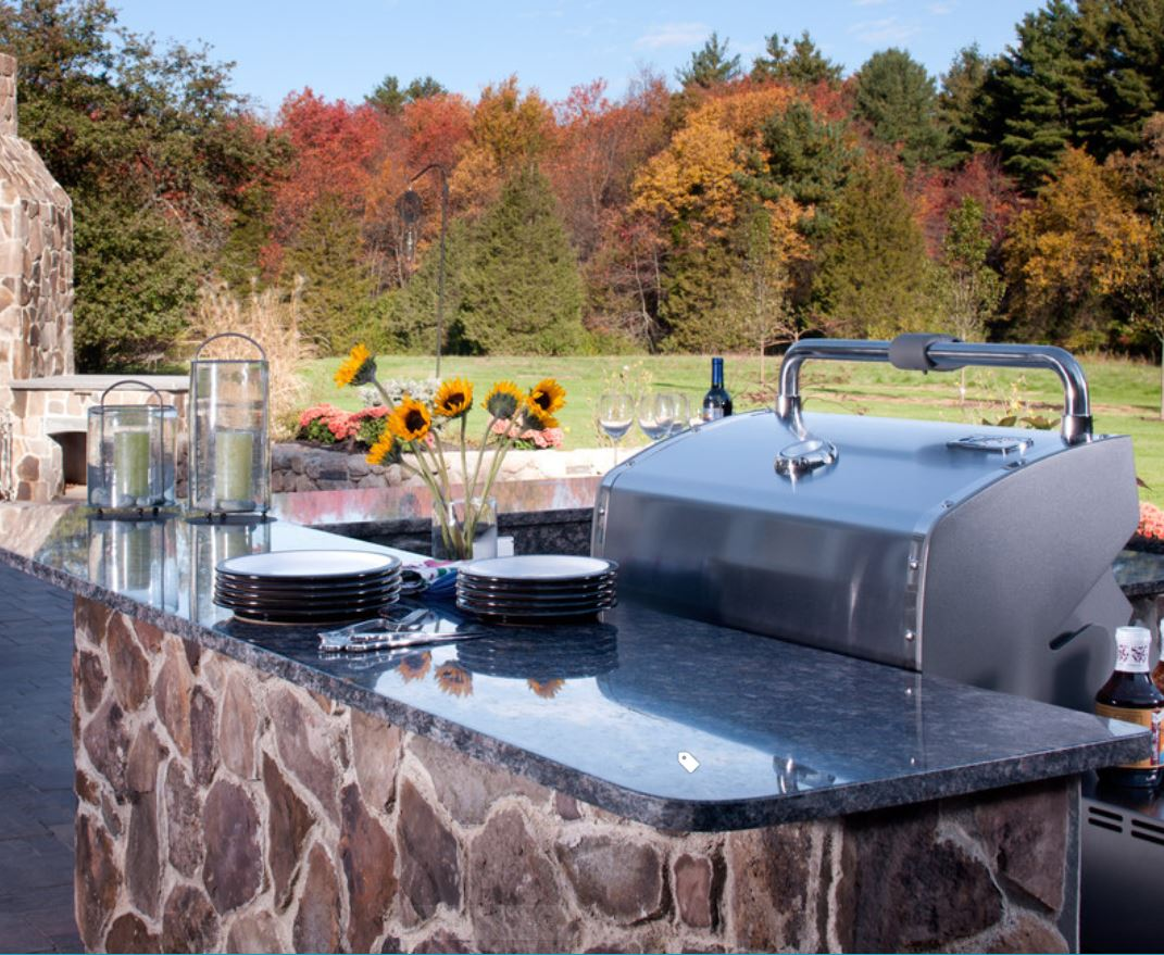 Stunning black granite outdoor BBQ island