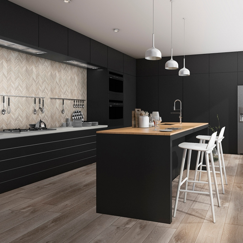 dark kitchen with lvt wood look flooring