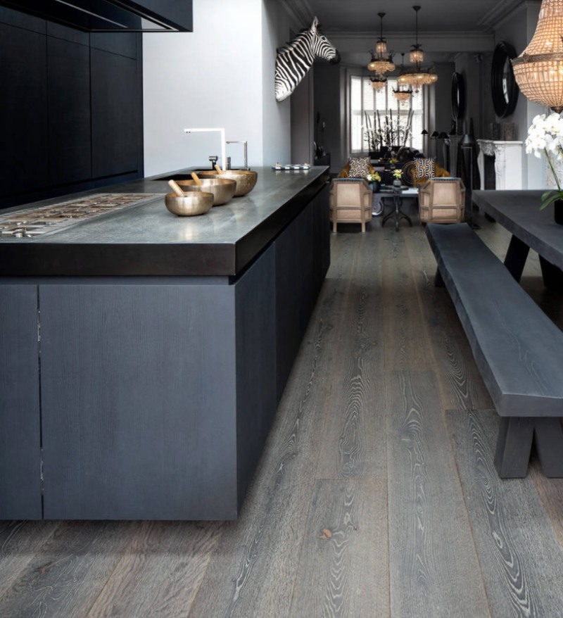 cultural artisan kitchen with dark wood ltv flooring