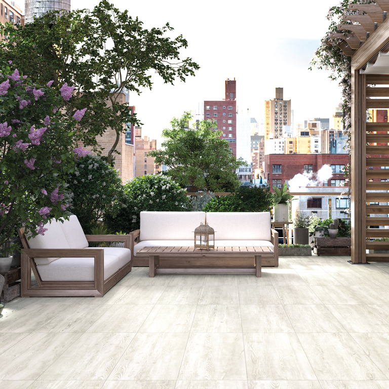urban outdoor living space with porcelain tile