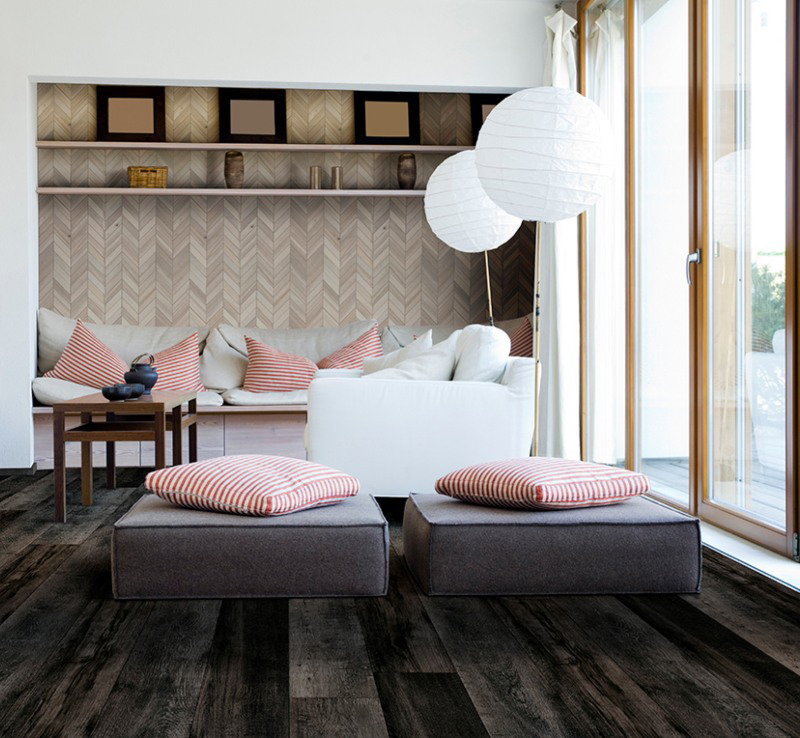 dark wood vinyl flooring in bright living room