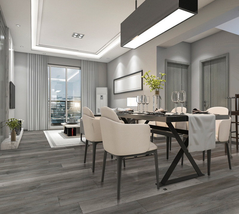 ash grey and modern vinyl tile flooring dining room