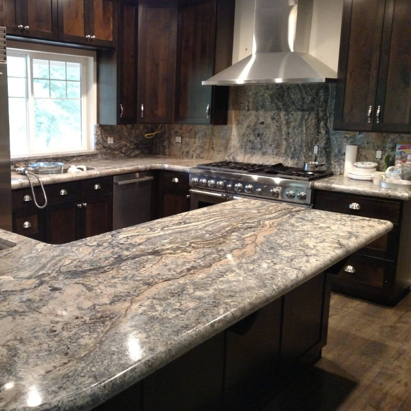 Favorite Natural Granite Counters To Top Cherry Wood Cabinetry