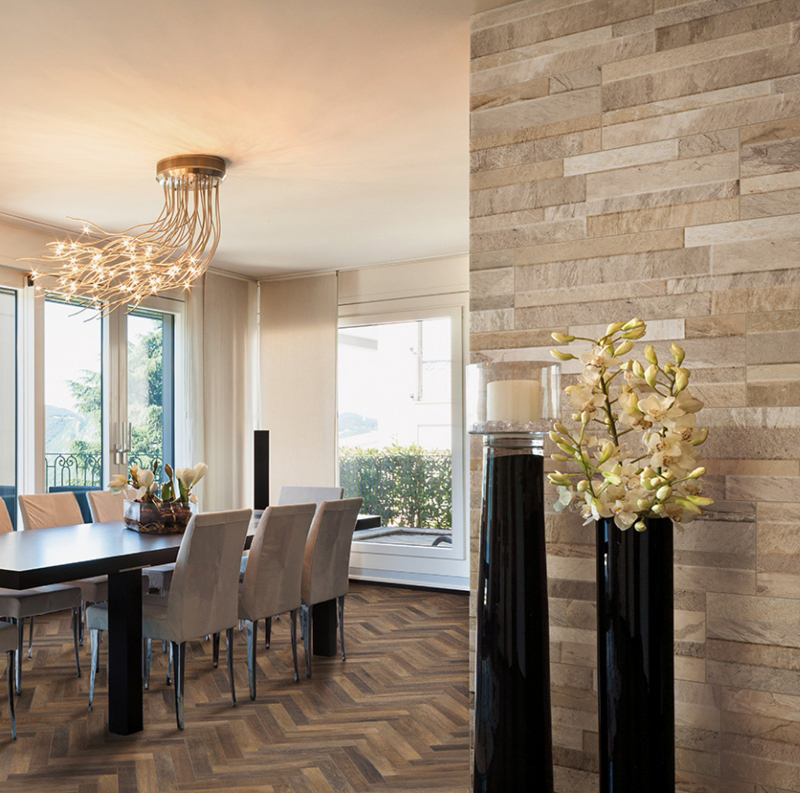 stacked stone wall panels in the dining room