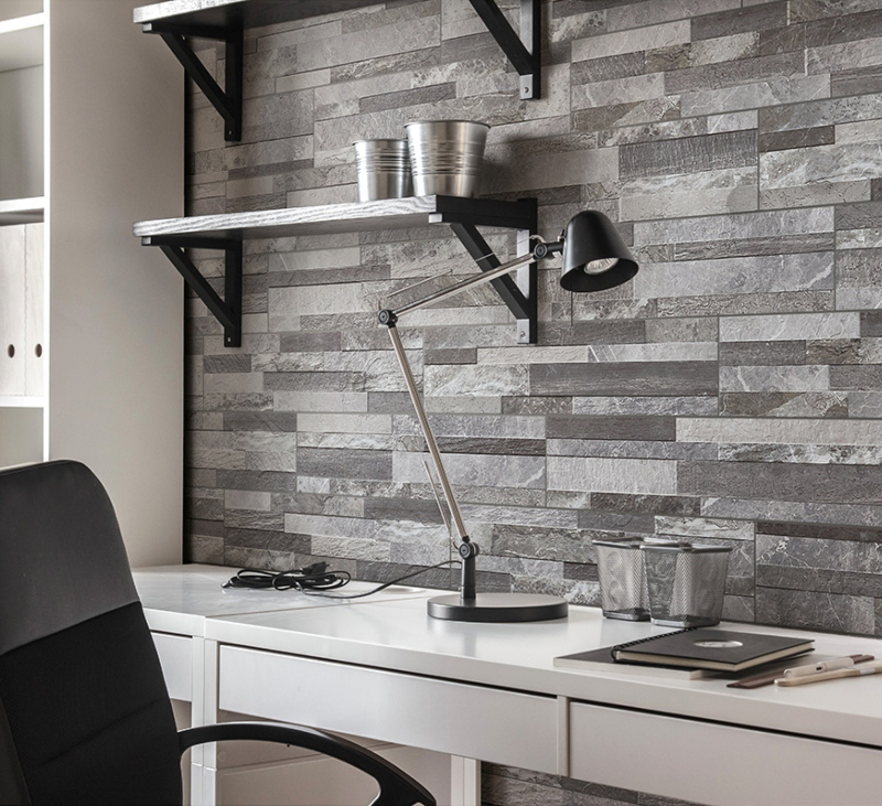 stacked stone wall panels in the office
