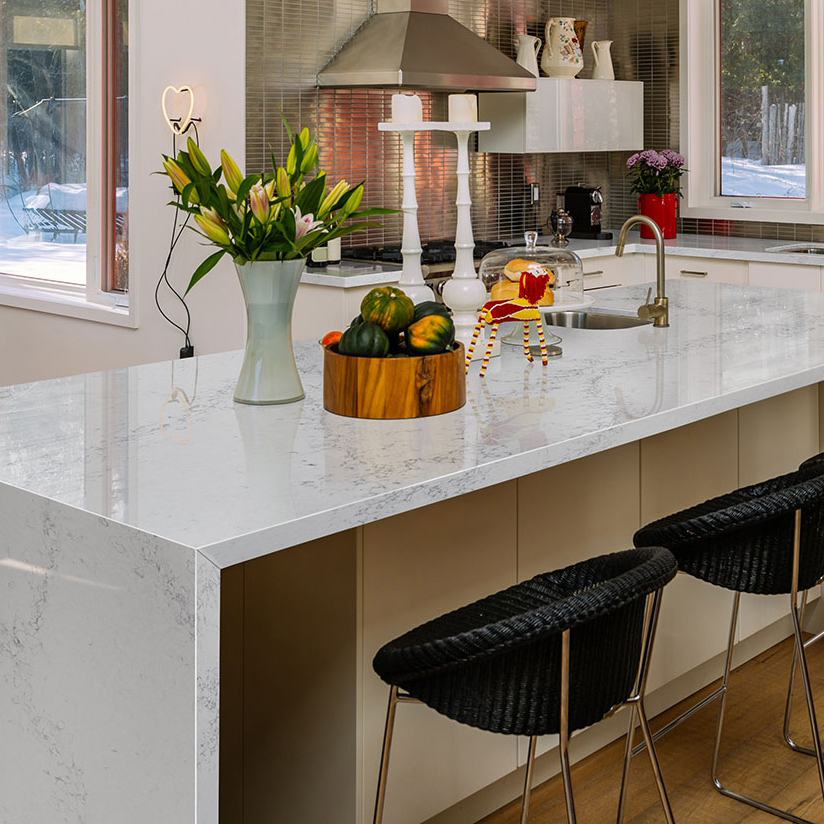 stunning kitchen quartz waterfall island
