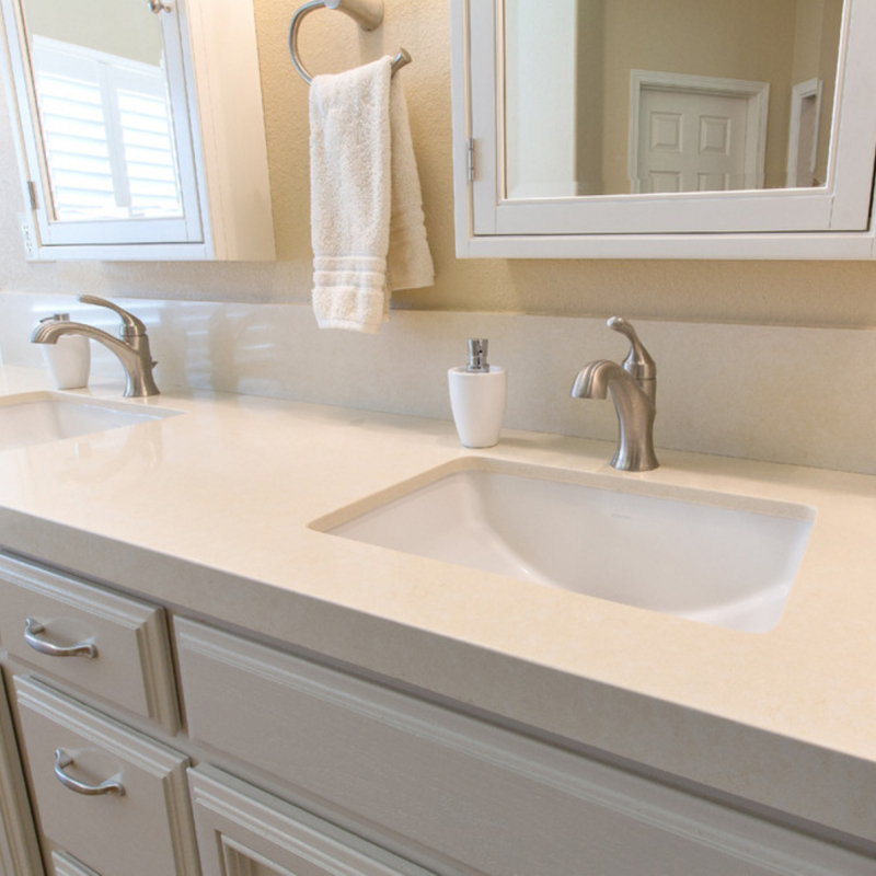 beige quartz bathroom countertop