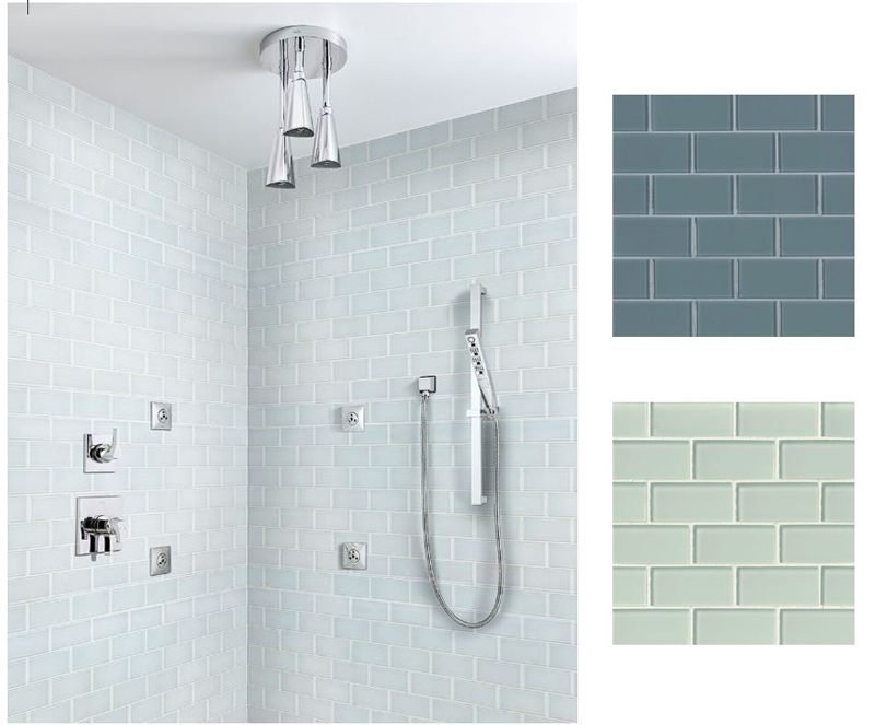 ice gass subway tile in shower