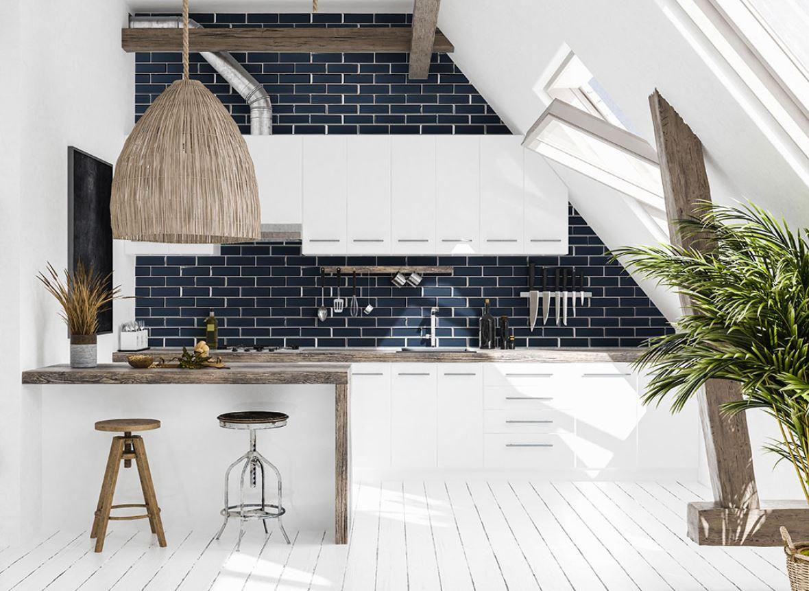 stunning blue kitchen backsplash