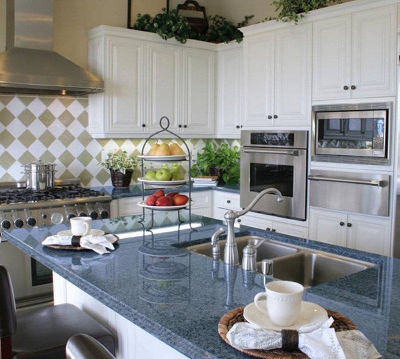 bright blue granite kitchen counter