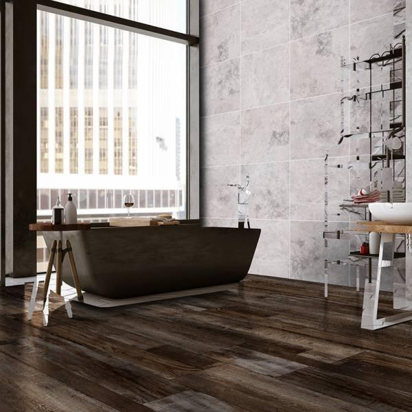 vinyl plank flooring in bathroom