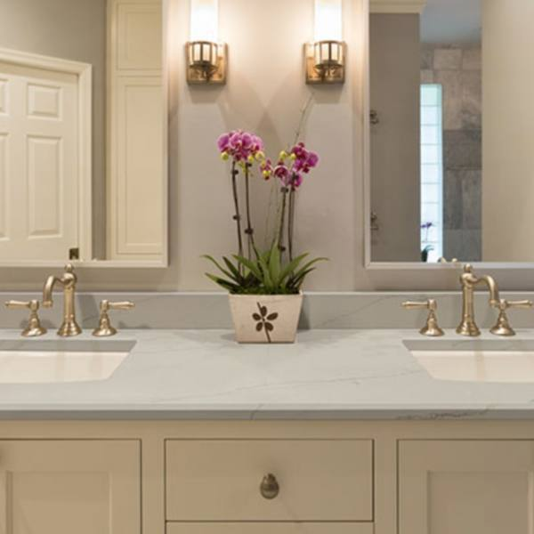 quartz countertop double sink bathroom