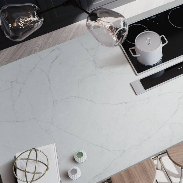 whisper vein quartz+countertop with electric stove