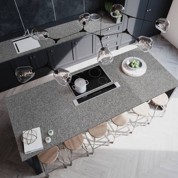 gray speckled kitchen countertop