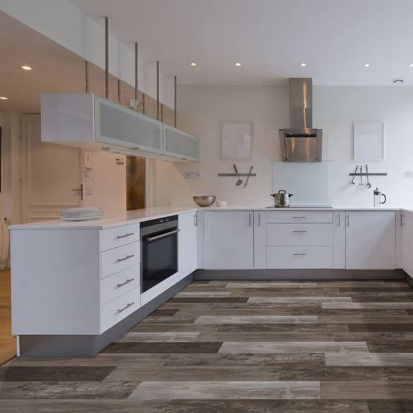 luxury vinyl tile in kitchen with weathered look