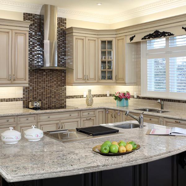 granite salt and pepper countertop in kitchen