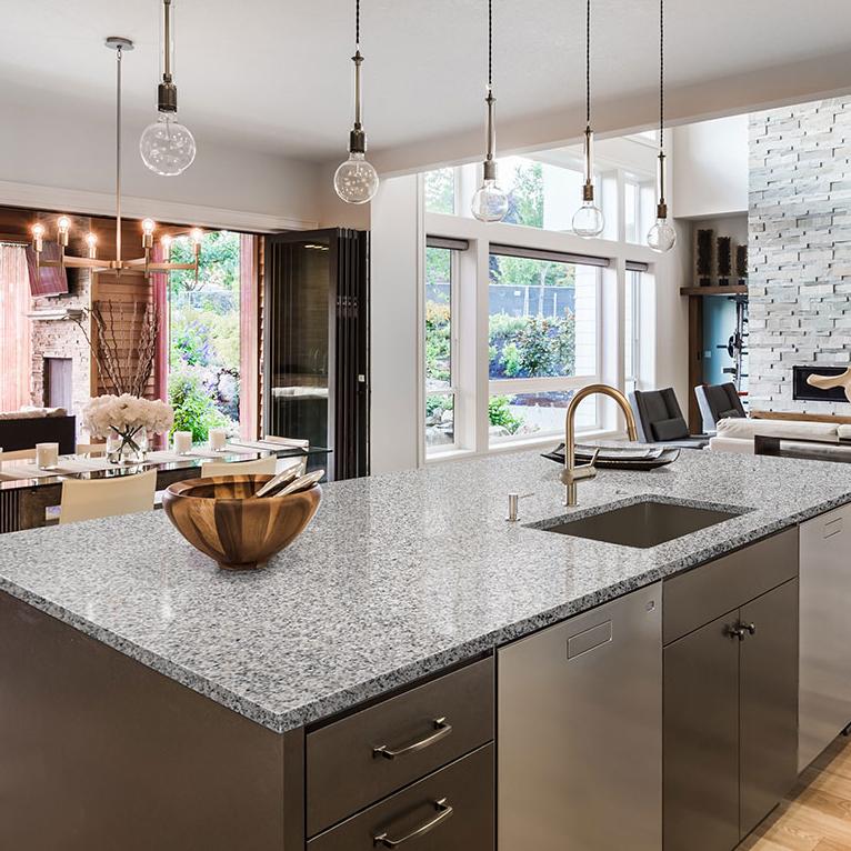 granite countertop island in kitchen