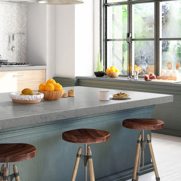 gray quartz countertop kitchen island