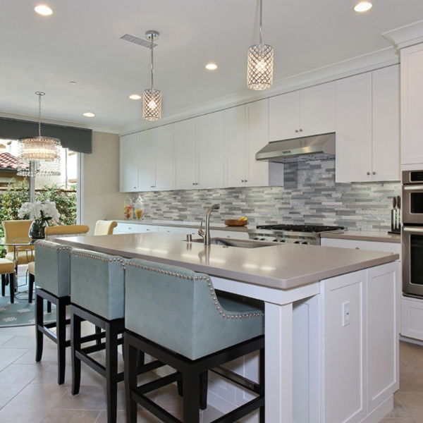 speckled silver kitchen quartz countertop