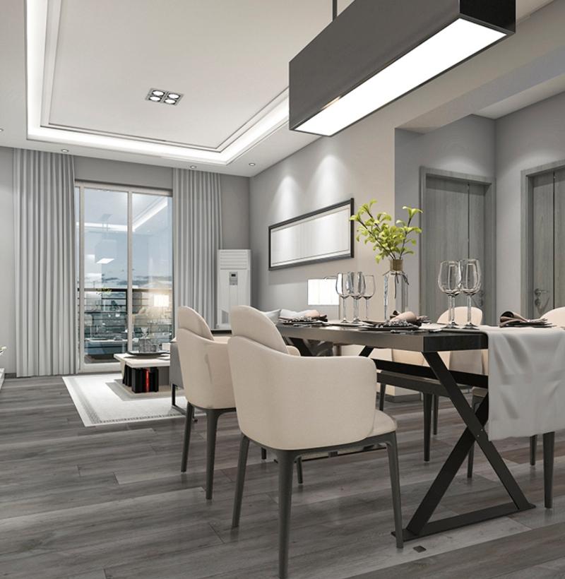 luxury vinyl tile in modern dining room