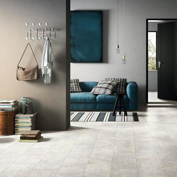 porcelain tile flooring blue and beige living room