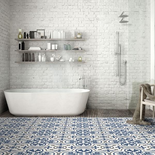 porcelain_blue floral pattern tile