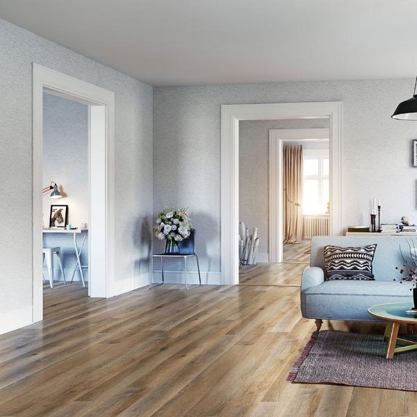 vinyl plank flooring in serene blue living room
