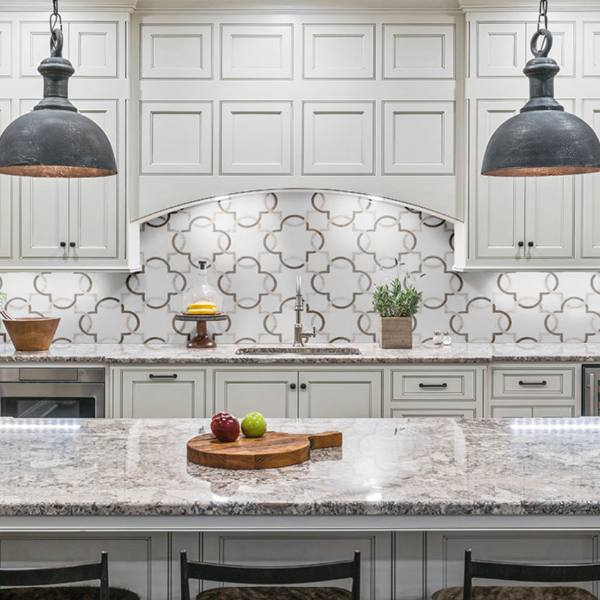 white marble accented by a sophisticated geometric pattern