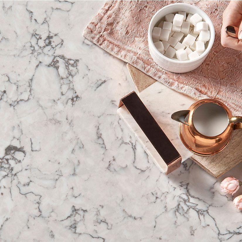 quartz countertop with marble look